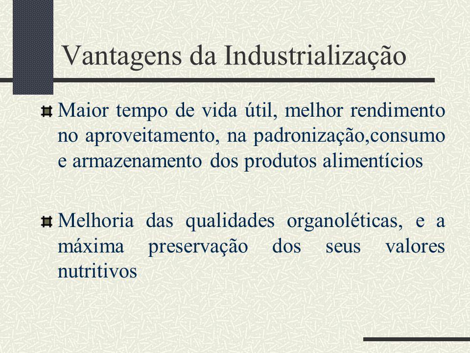 Vantagens da Industrialização Maior tempo de vida útil, melhor rendimento no aproveitamento, na padronização,consumo e armazenamento dos produtos alimentícios Melhoria das qualidades organoléticas, e a máxima preservação dos seus valores nutritivos
