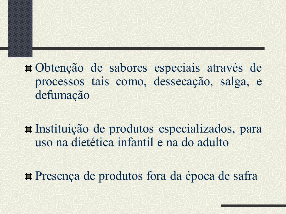 Obtenção de sabores especiais através de processos tais como, dessecação, salga, e defumação Instituição de produtos especializados, para uso na dietética infantil e na do adulto Presença de produtos fora da época de safra