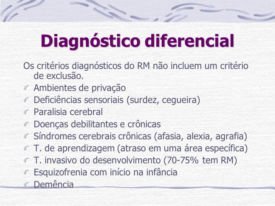 Diagnóstico diferencial Os critérios diagnósticos do RM não incluem um critério de exclusão. Ambientes de privação Deficiências sensoriais (surdez, ce