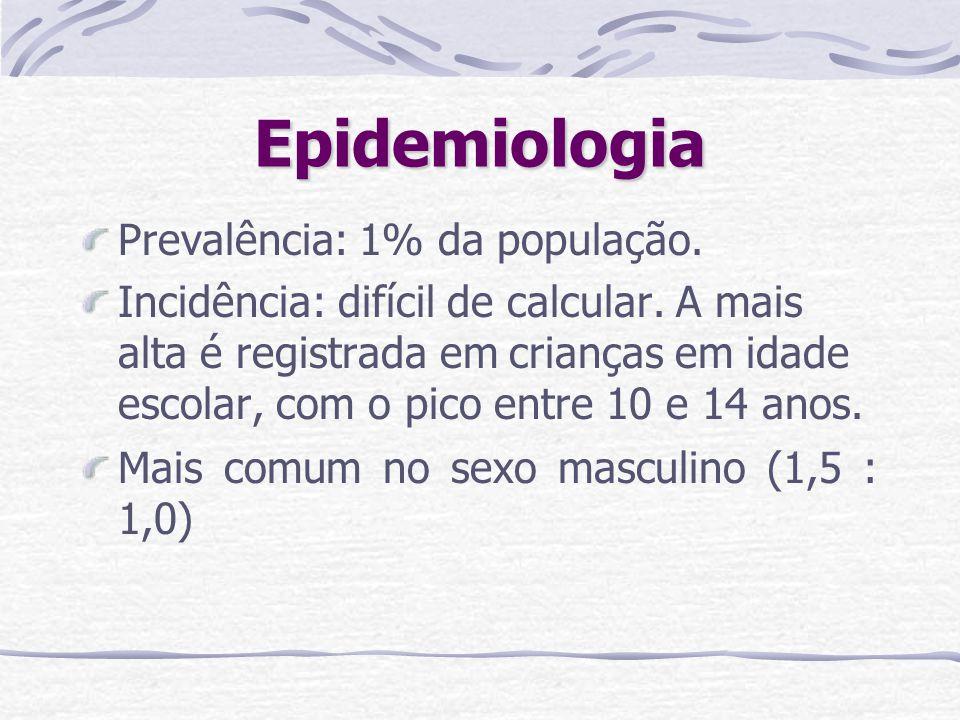 Epidemiologia Prevalência: 1% da população. Incidência: difícil de calcular. A mais alta é registrada em crianças em idade escolar, com o pico entre 1