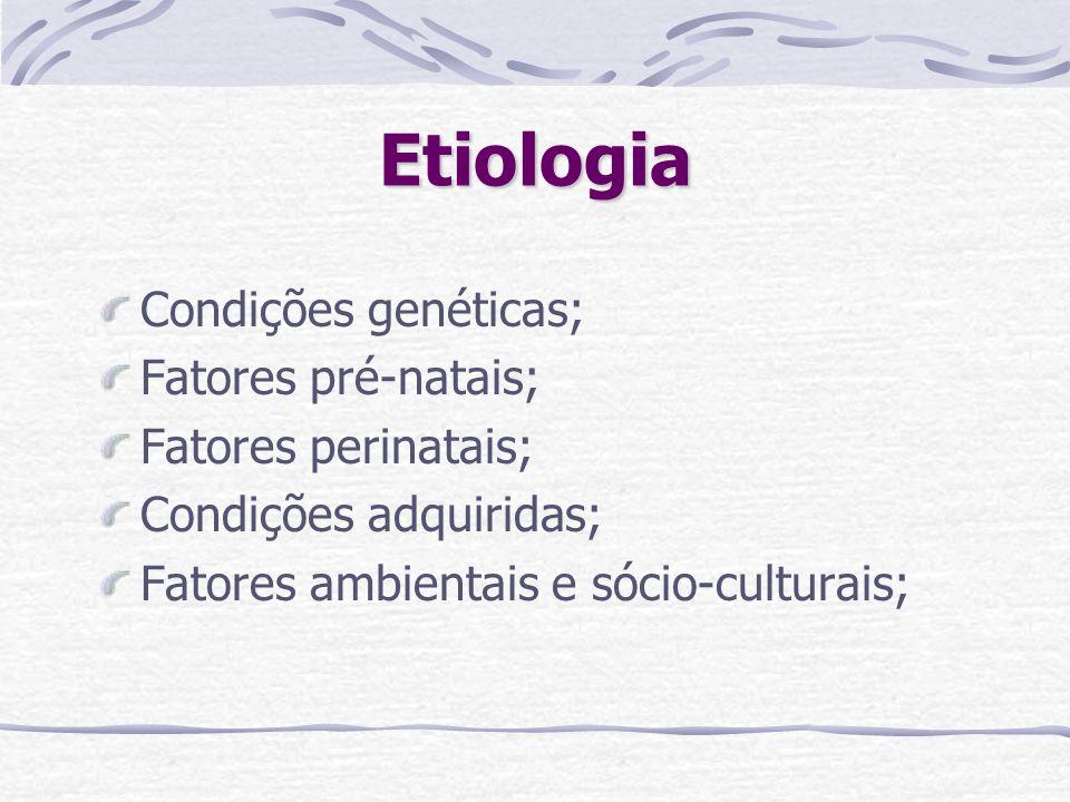 Etiologia Condições genéticas; Fatores pré-natais; Fatores perinatais; Condições adquiridas; Fatores ambientais e sócio-culturais;