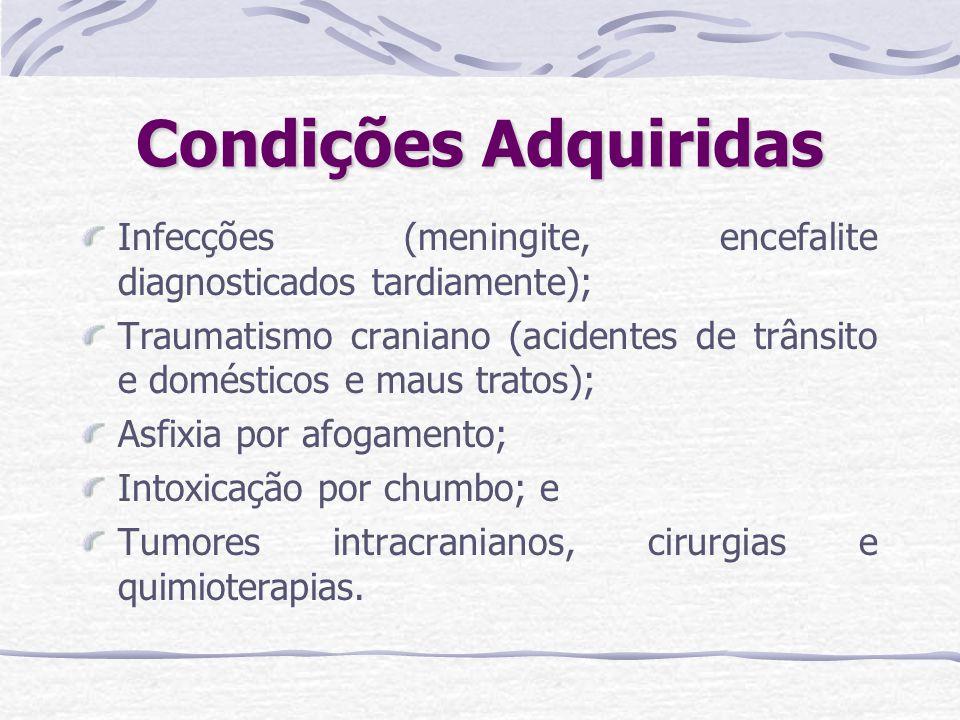 Condições Adquiridas Infecções (meningite, encefalite diagnosticados tardiamente); Traumatismo craniano (acidentes de trânsito e domésticos e maus tra