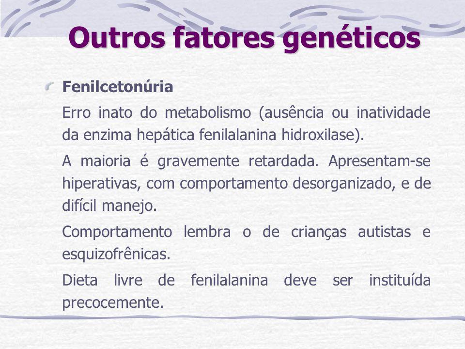 Outros fatores genéticos Fenilcetonúria Erro inato do metabolismo (ausência ou inatividade da enzima hepática fenilalanina hidroxilase). A maioria é g