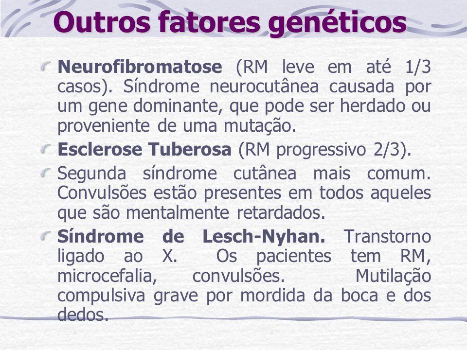 Outros fatores genéticos Neurofibromatose (RM leve em até 1/3 casos). Síndrome neurocutânea causada por um gene dominante, que pode ser herdado ou pro