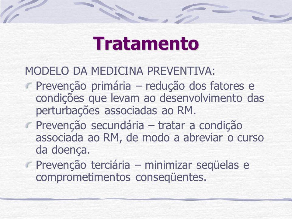 Tratamento MODELO DA MEDICINA PREVENTIVA: Prevenção primária – redução dos fatores e condições que levam ao desenvolvimento das perturbações associada