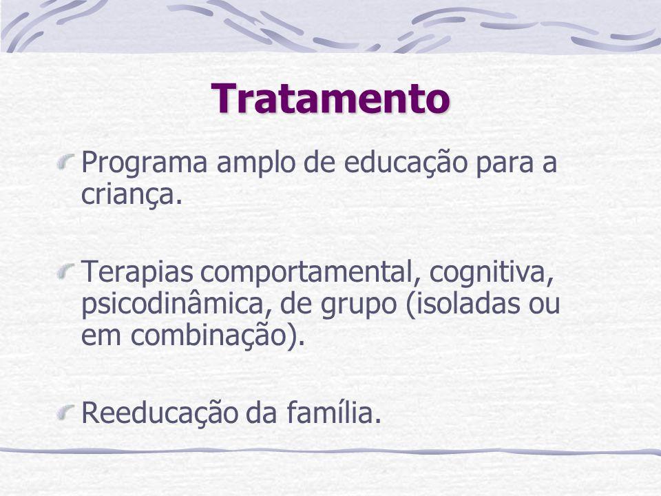 Tratamento Programa amplo de educação para a criança. Terapias comportamental, cognitiva, psicodinâmica, de grupo (isoladas ou em combinação). Reeduca