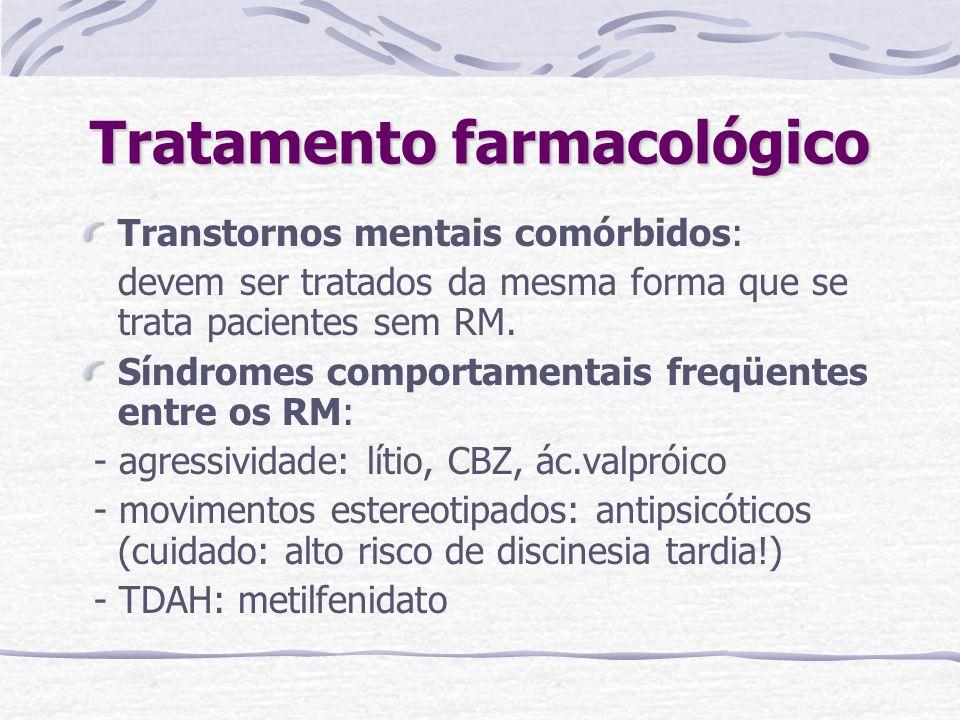 Tratamento farmacológico Transtornos mentais comórbidos: devem ser tratados da mesma forma que se trata pacientes sem RM. Síndromes comportamentais fr