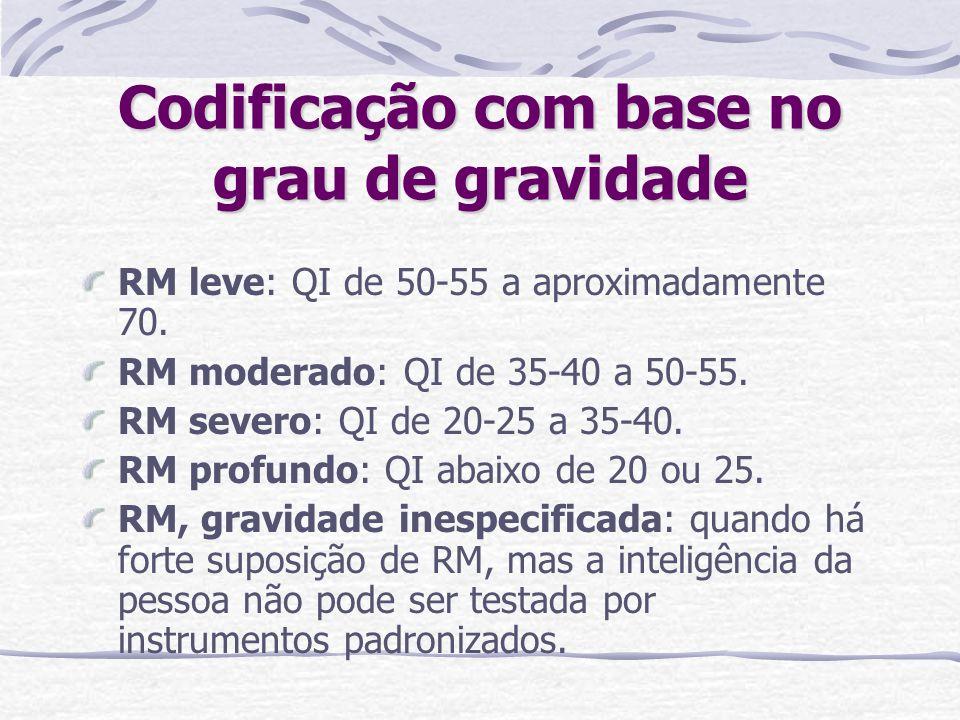 Codificação com base no grau de gravidade RM leve: QI de 50-55 a aproximadamente 70. RM moderado: QI de 35-40 a 50-55. RM severo: QI de 20-25 a 35-40.
