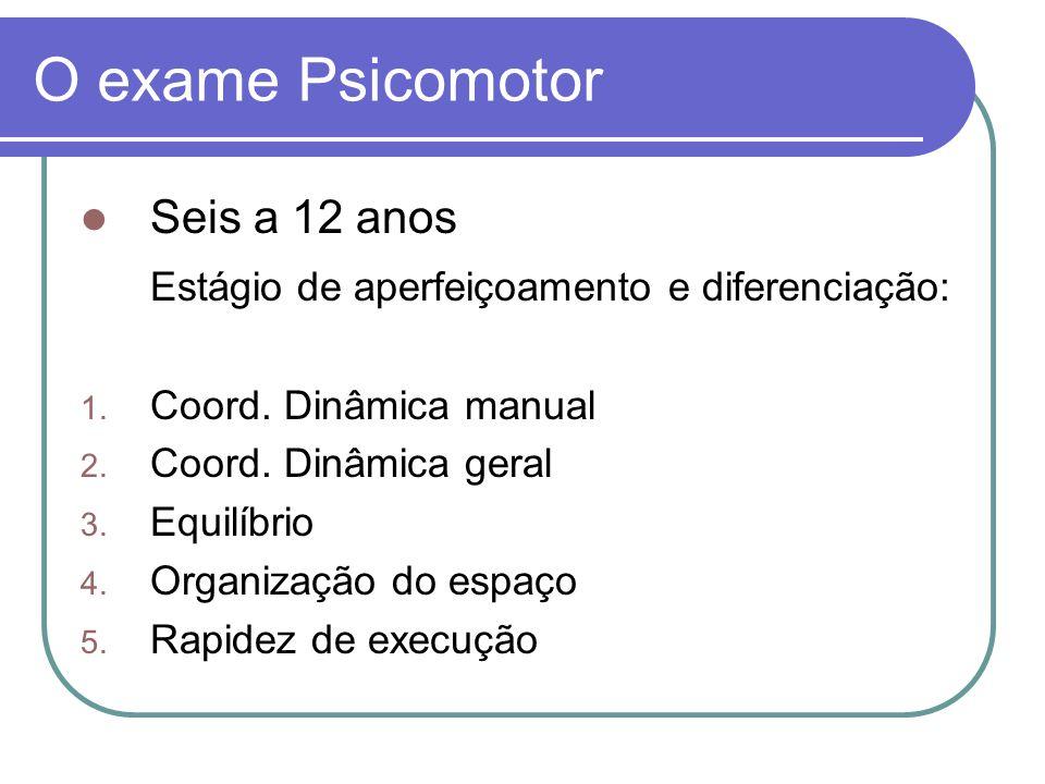 Exercício Estabelecer uma bateria de testes que proporcione de forma simples e objetiva a avaliação dos aspectos psicomotores.