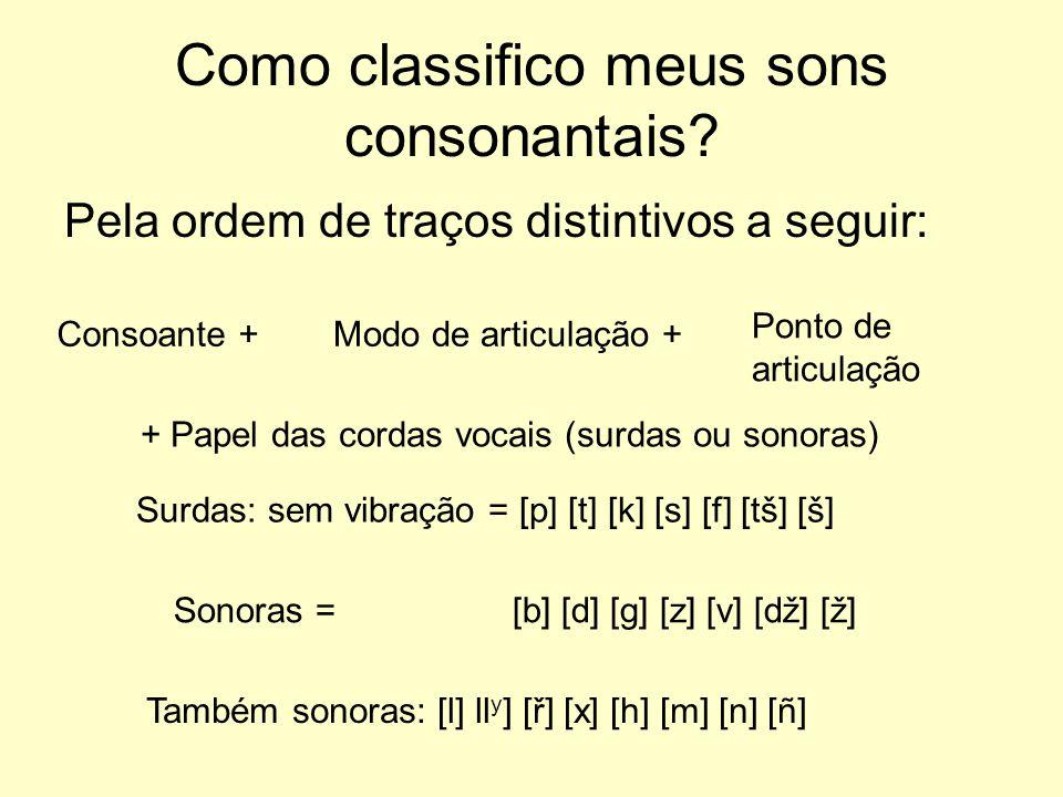 Como classifico meus sons consonantais? Pela ordem de traços distintivos a seguir: Consoante +Modo de articulação + Ponto de articulação + Papel das c