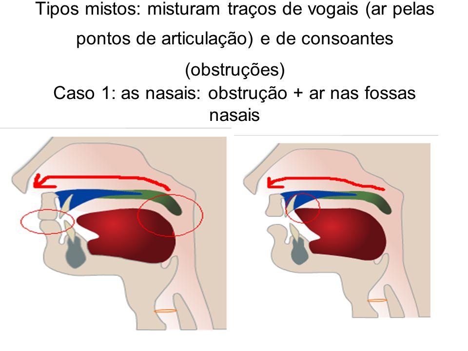 Tipos mistos: misturam traços de vogais (ar pelas pontos de articulação) e de consoantes (obstruções) Caso 1: as nasais: obstrução + ar nas fossas nas