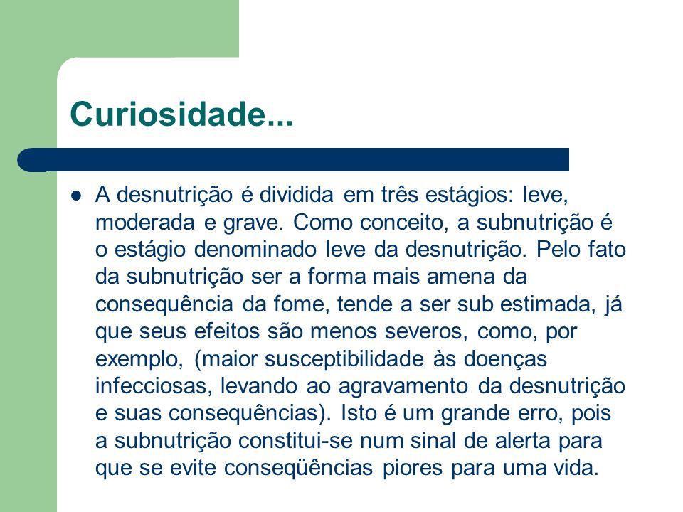 Curiosidade... A desnutrição é dividida em três estágios: leve, moderada e grave. Como conceito, a subnutrição é o estágio denominado leve da desnutri