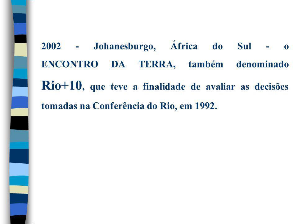 2002 - Johanesburgo, África do Sul - o ENCONTRO DA TERRA, também denominado Rio+10, que teve a finalidade de avaliar as decisões tomadas na Conferênci