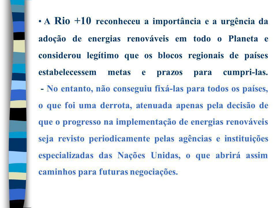 A Rio +10 reconheceu a importância e a urgência da adoção de energias renováveis em todo o Planeta e considerou legítimo que os blocos regionais de países estabelecessem metas e prazos para cumpri-las.
