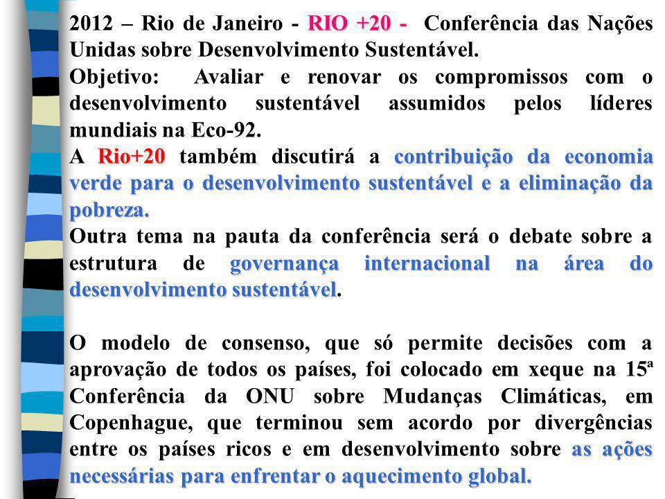 RIO +20 - 2012 – Rio de Janeiro - RIO +20 - Conferência das Nações Unidas sobre Desenvolvimento Sustentável. Objetivo: Avaliar e renovar os compromiss