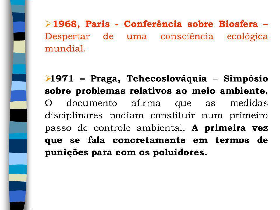 1968, Paris - Conferência sobre Biosfera – Despertar de uma consciência ecológica mundial. 1971 – Praga, Tchecoslováquia – Simpósio sobre problemas re