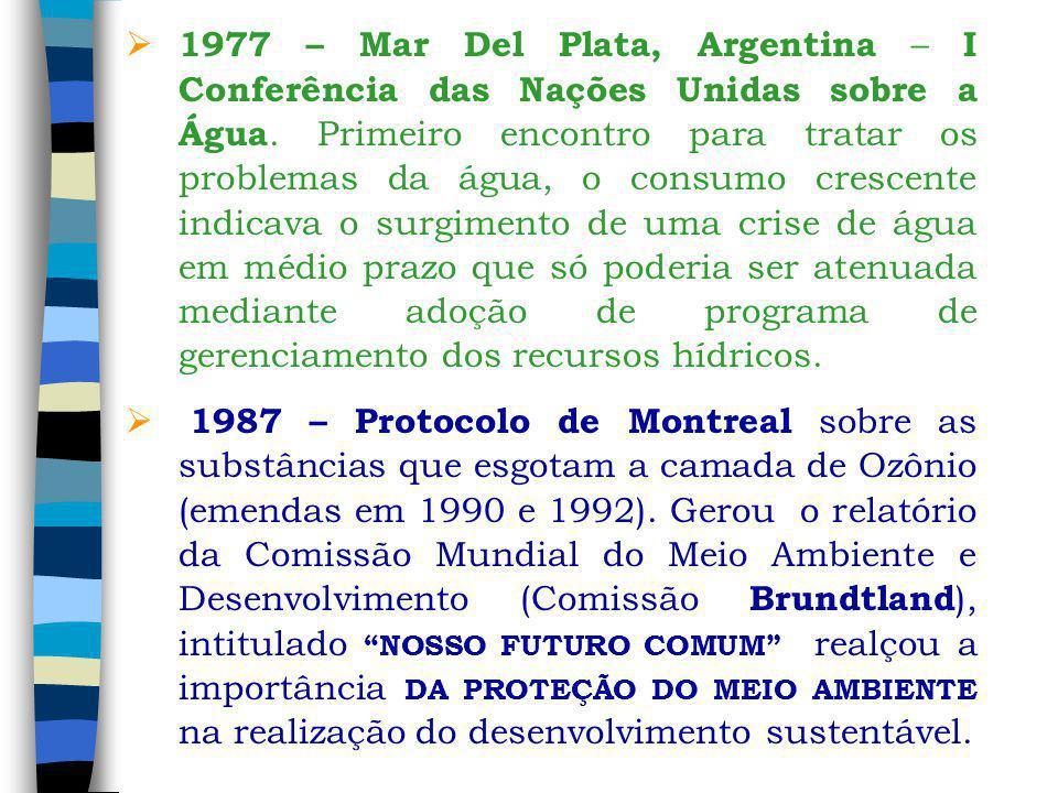 1977 – Mar Del Plata, Argentina – I Conferência das Nações Unidas sobre a Água. Primeiro encontro para tratar os problemas da água, o consumo crescent