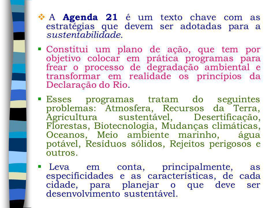 A Agenda 21 é um texto chave com as estratégias que devem ser adotadas para a sustentabilidade. Constitui um plano de ação, que tem por objetivo coloc