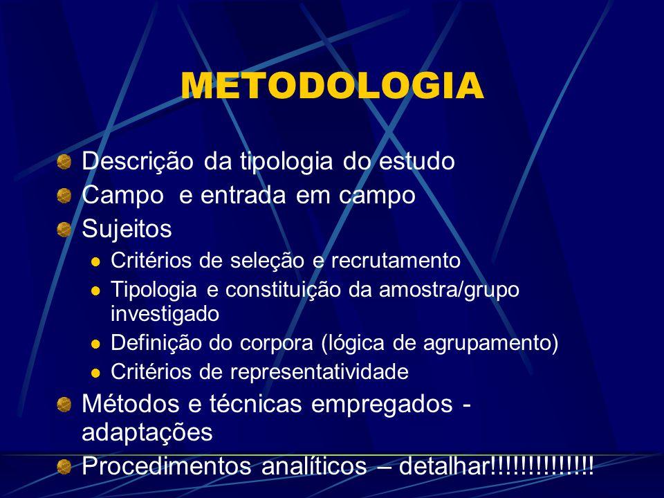 METODOLOGIA Descrição da tipologia do estudo Campo e entrada em campo Sujeitos Critérios de seleção e recrutamento Tipologia e constituição da amostra/grupo investigado Definição do corpora (lógica de agrupamento) Critérios de representatividade Métodos e técnicas empregados - adaptações Procedimentos analíticos – detalhar!!!!!!!!!!!!!!
