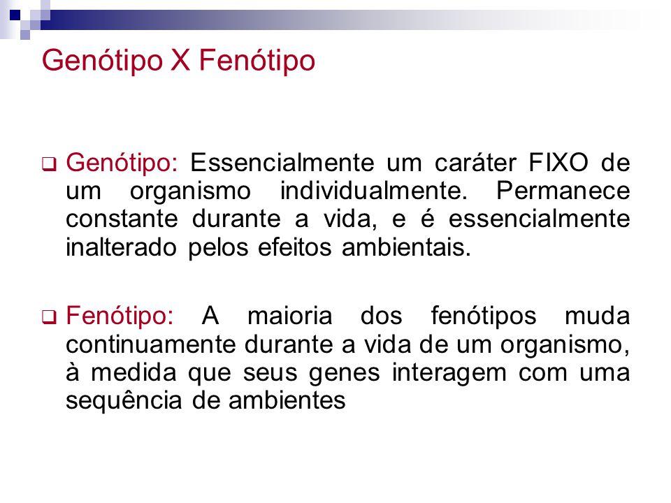 Genótipo: Essencialmente um caráter FIXO de um organismo individualmente. Permanece constante durante a vida, e é essencialmente inalterado pelos efei