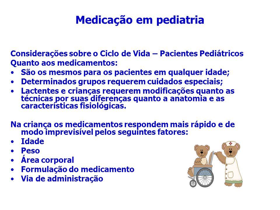 Medicação em pediatria Considerações sobre o Ciclo de Vida – Pacientes Pediátricos Quanto aos medicamentos: São os mesmos para os pacientes em qualque