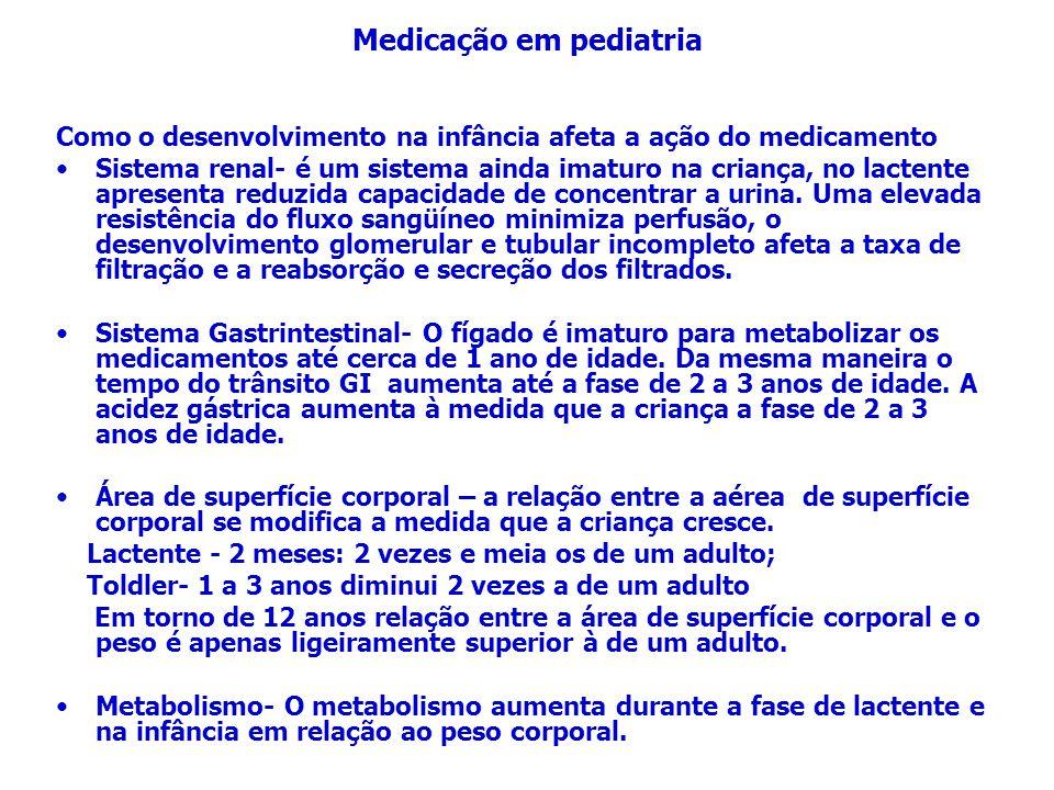 Quando calcular e monitorar as dosagens em pacientes pediátricos, lembrar-se: Não utilize a área de superfície corporal para calcular uma dosagem para um lactente.