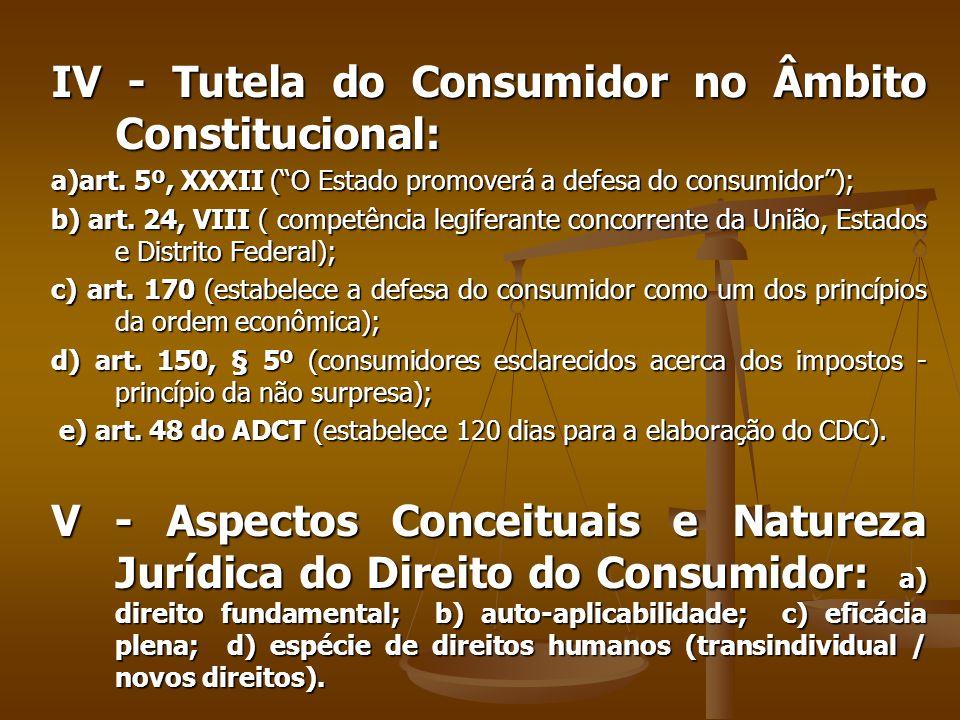 IV - Tutela do Consumidor no Âmbito Constitucional: a)art.