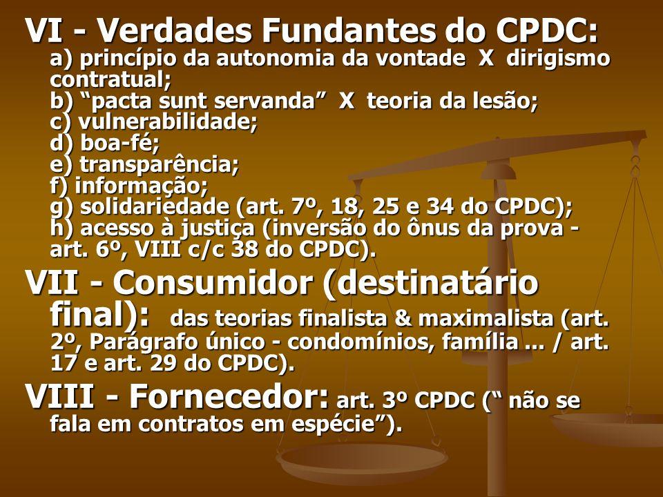VI - Verdades Fundantes do CPDC: a) princípio da autonomia da vontade X dirigismo contratual; b) pacta sunt servanda X teoria da lesão; c) vulnerabilidade; d) boa-fé; e) transparência; f) informação; g) solidariedade (art.