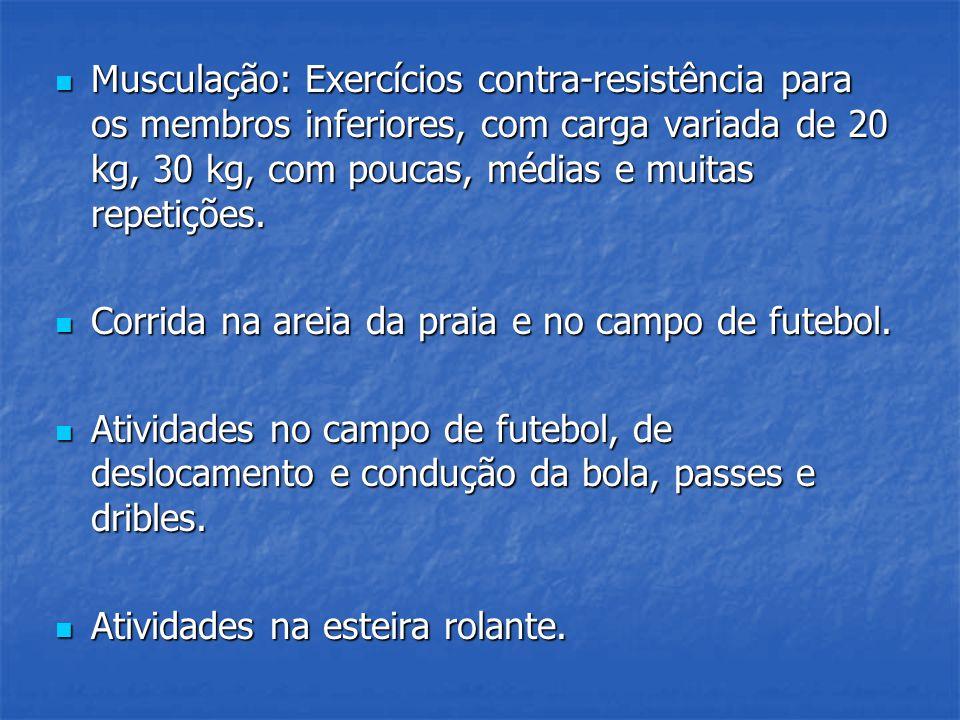 Musculação: Exercícios contra-resistência para os membros inferiores, com carga variada de 20 kg, 30 kg, com poucas, médias e muitas repetições. Muscu