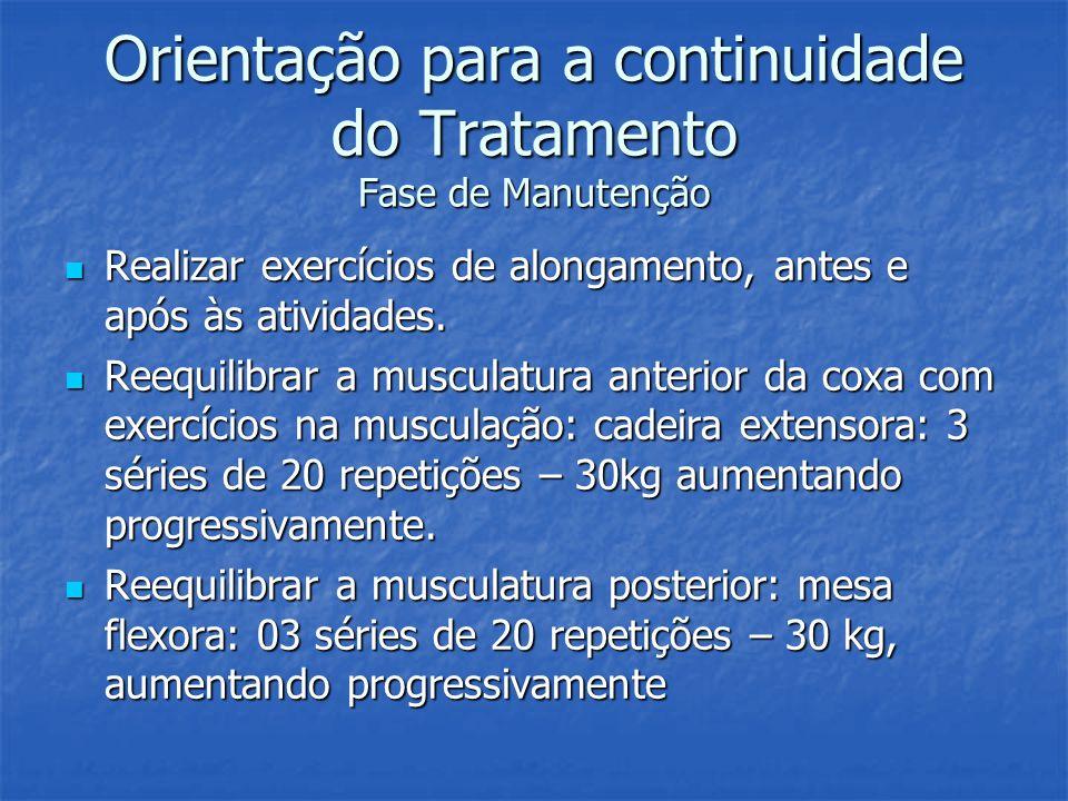 Orientação para a continuidade do Tratamento Fase de Manutenção Realizar exercícios de alongamento, antes e após às atividades. Realizar exercícios de