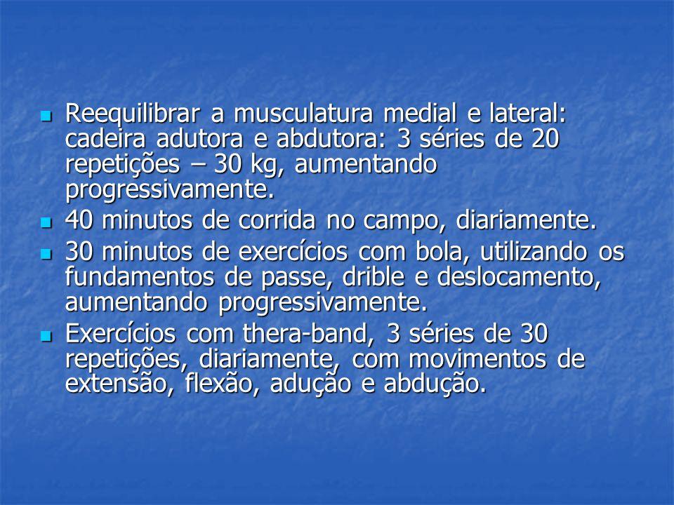 Reequilibrar a musculatura medial e lateral: cadeira adutora e abdutora: 3 séries de 20 repetições – 30 kg, aumentando progressivamente. Reequilibrar