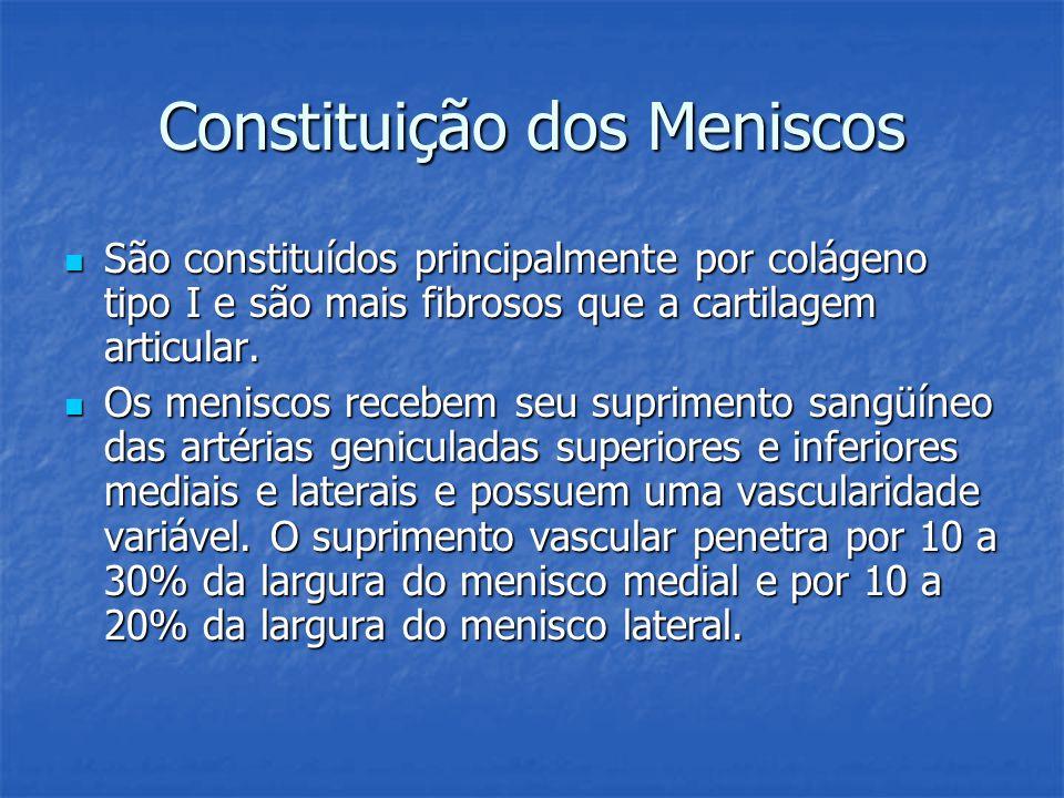 Constituição dos Meniscos São constituídos principalmente por colágeno tipo I e são mais fibrosos que a cartilagem articular. São constituídos princip