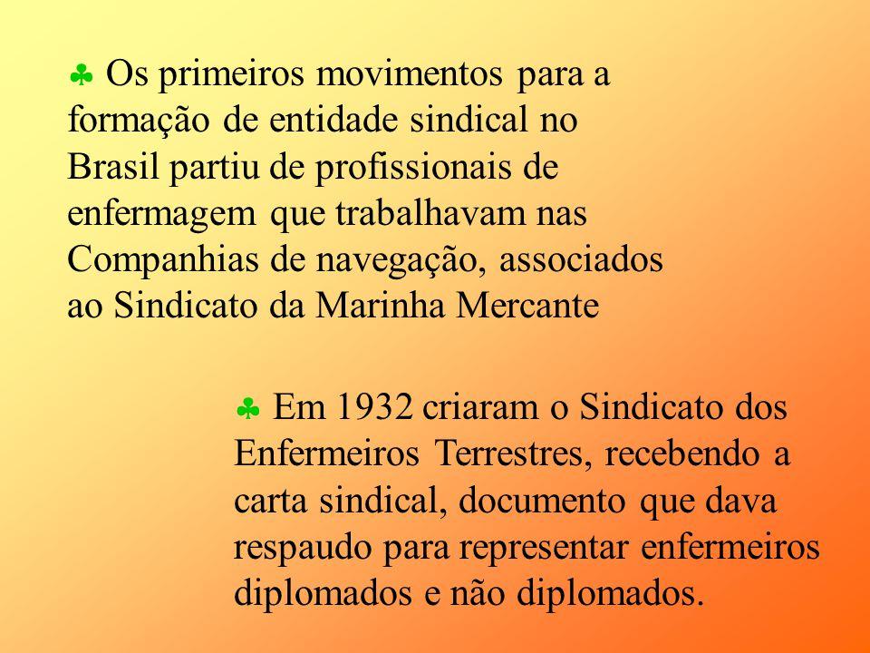 Os primeiros movimentos para a formação de entidade sindical no Brasil partiu de profissionais de enfermagem que trabalhavam nas Companhias de navegaç