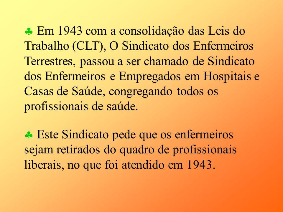 Este Sindicato pede que os enfermeiros sejam retirados do quadro de profissionais liberais, no que foi atendido em 1943. Em 1943 com a consolidação da