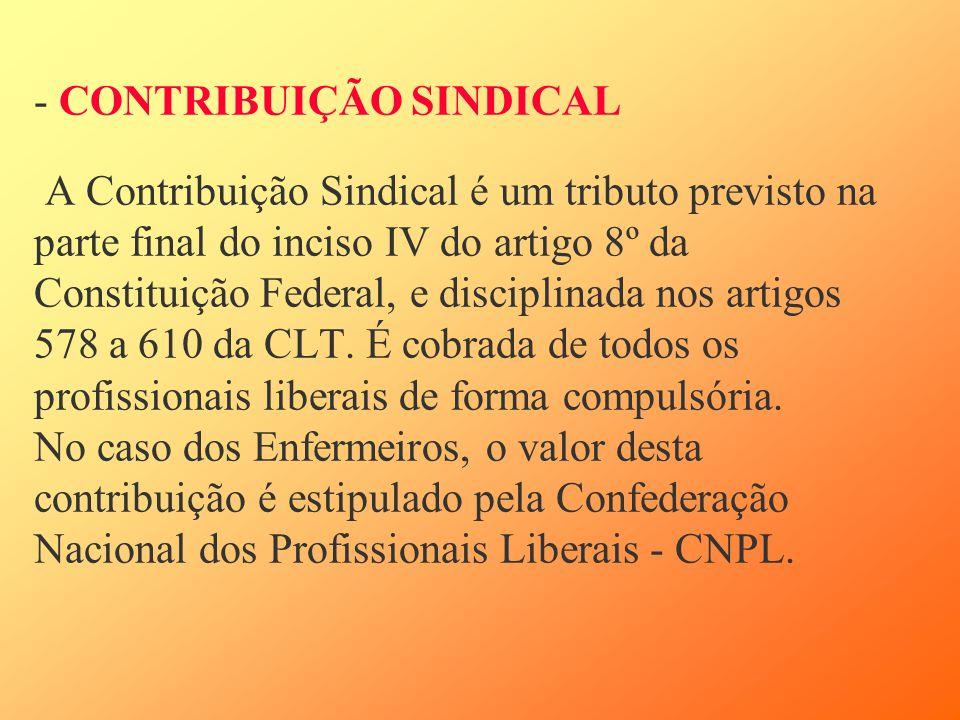 - CONTRIBUIÇÃO SINDICAL A Contribuição Sindical é um tributo previsto na parte final do inciso IV do artigo 8º da Constituição Federal, e disciplinada