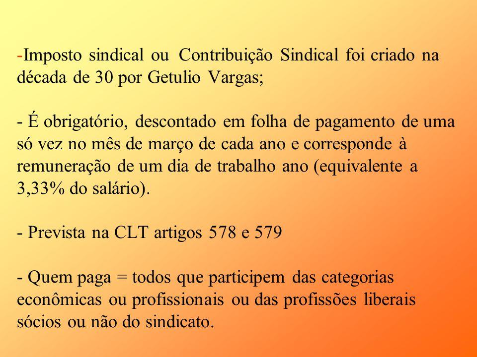 -Imposto sindical ou Contribuição Sindical foi criado na década de 30 por Getulio Vargas; - É obrigatório, descontado em folha de pagamento de uma só