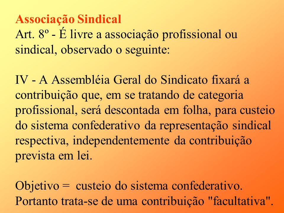 Associação Sindical Art. 8º - É livre a associação profissional ou sindical, observado o seguinte: IV - A Assembléia Geral do Sindicato fixará a contr
