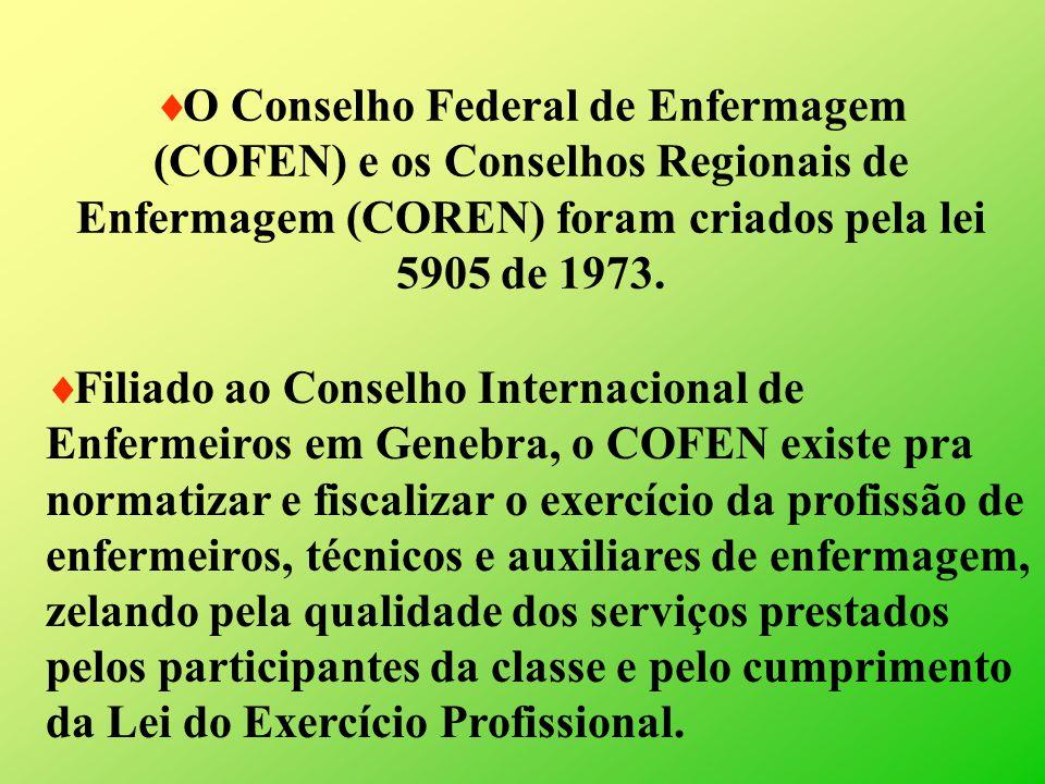 O Conselho Federal de Enfermagem (COFEN) e os Conselhos Regionais de Enfermagem (COREN) foram criados pela lei 5905 de 1973. Filiado ao Conselho Inter