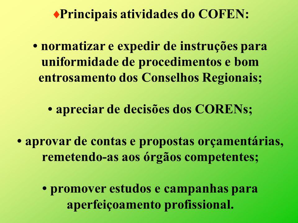 Principais atividades do COFEN: normatizar e expedir de instruções para uniformidade de procedimentos e bom entrosamento dos Conselhos Regionais; apre
