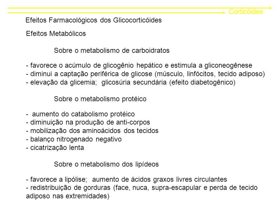 Corticóides Efeitos Farmacológicos dos Glicocorticóides Efeitos Metabólicos Sobre o metabolismo de carboidratos - favorece o acúmulo de glicogênio hepático e estimula a gliconeogênese - diminui a captação periférica de glicose (músculo, linfócitos, tecido adiposo) - elevação da glicemia; glicosúria secundária (efeito diabetogênico) Sobre o metabolismo protéico - aumento do catabolismo protéico - diminuição na produção de anti-corpos - mobilização dos aminoácidos dos tecidos - balanço nitrogenado negativo - cicatrização lenta Sobre o metabolismo dos lipídeos - favorece a lipólise; aumento de ácidos graxos livres circulantes - redistribuição de gorduras (face, nuca, supra-escapular e perda de tecido adiposo nas extremidades)
