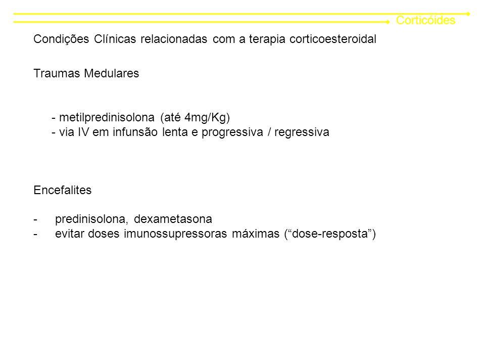 Corticóides Condições Clínicas relacionadas com a terapia corticoesteroidal Traumas Medulares - metilpredinisolona (até 4mg/Kg) - via IV em infunsão lenta e progressiva / regressiva Encefalites - predinisolona, dexametasona - evitar doses imunossupressoras máximas (dose-resposta)