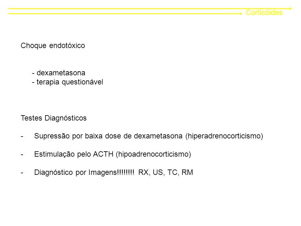 Corticóides Choque endotóxico - dexametasona - terapia questionável Testes Diagnósticos - Supressão por baixa dose de dexametasona (hiperadrenocorticismo) - Estimulação pelo ACTH (hipoadrenocorticismo) - Diagnóstico por Imagens!!!!!!!.