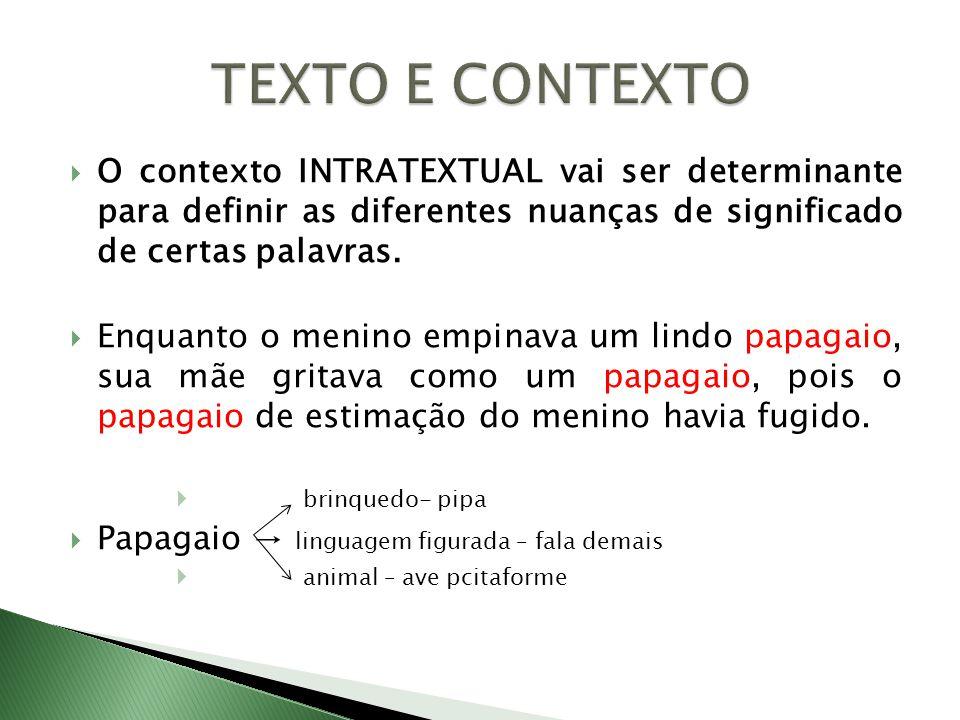 O contexto INTRATEXTUAL vai ser determinante para definir as diferentes nuanças de significado de certas palavras. Enquanto o menino empinava um lindo