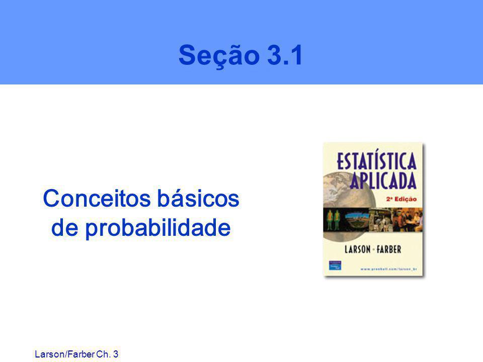 Larson/Farber Ch. 3 Seção 3.1 Conceitos básicos de probabilidade