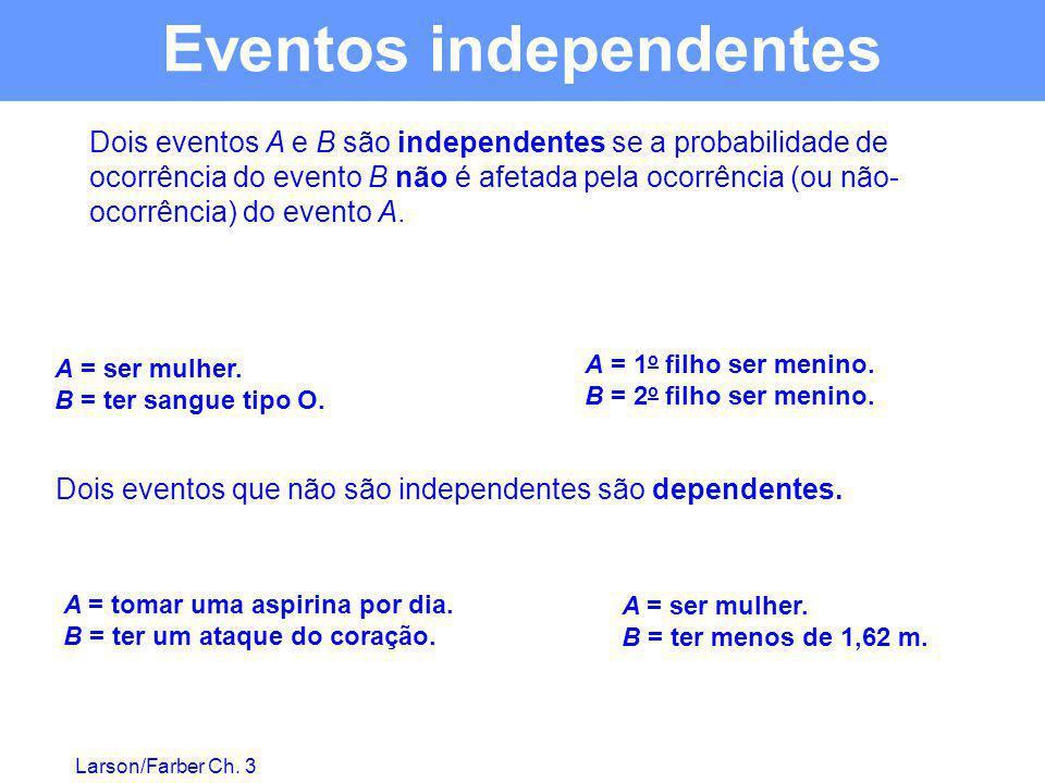 Larson/Farber Ch. 3 Dois eventos A e B são independentes se a probabilidade de ocorrência do evento B não é afetada pela ocorrência (ou não- ocorrênci