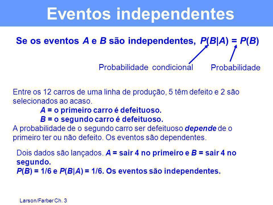 Larson/Farber Ch. 3 Se os eventos A e B são independentes, P(B|A) = P(B) Entre os 12 carros de uma linha de produção, 5 têm defeito e 2 são selecionad