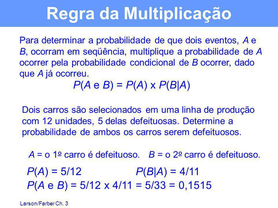 Larson/Farber Ch. 3 Para determinar a probabilidade de que dois eventos, A e B, ocorram em seqüência, multiplique a probabilidade de A ocorrer pela pr