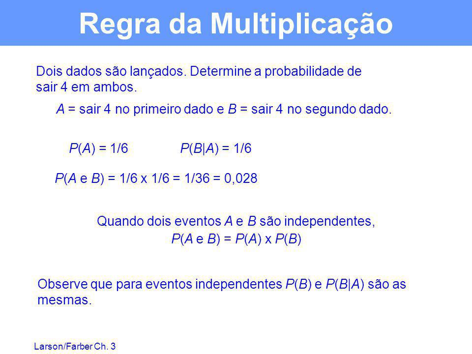Larson/Farber Ch. 3 Dois dados são lançados. Determine a probabilidade de sair 4 em ambos. A = sair 4 no primeiro dado e B = sair 4 no segundo dado. P
