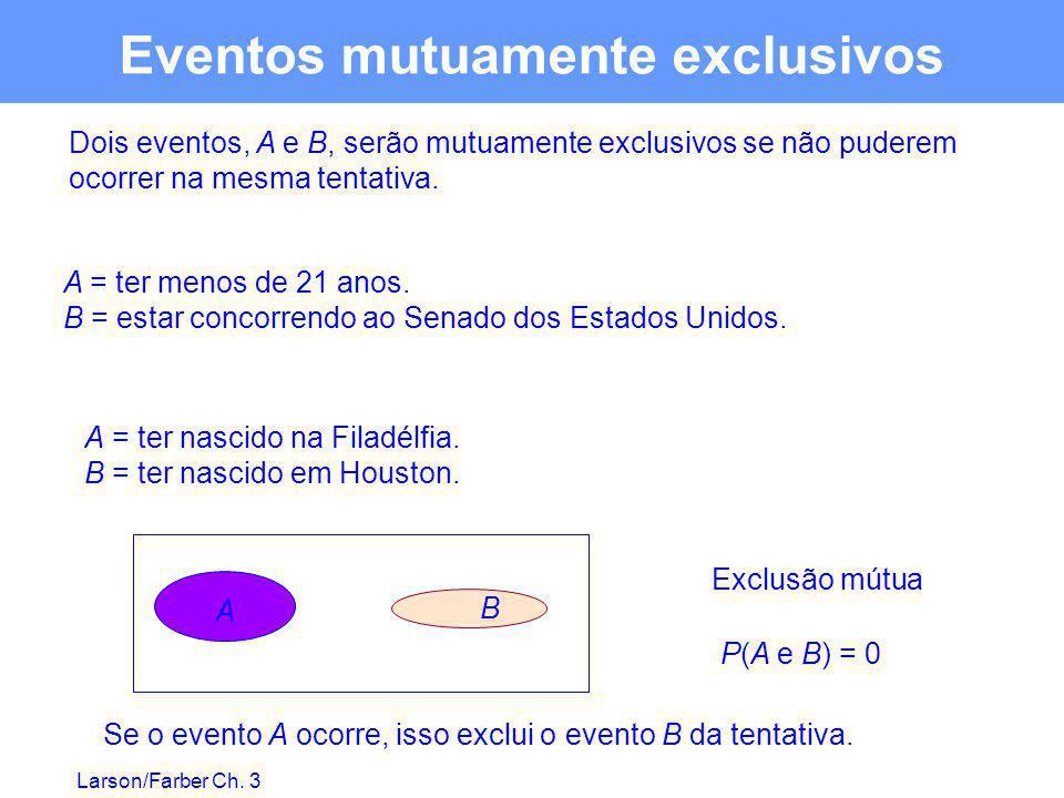 Larson/Farber Ch. 3 Eventos mutuamente exclusivos Dois eventos, A e B, serão mutuamente exclusivos se não puderem ocorrer na mesma tentativa. A = ter