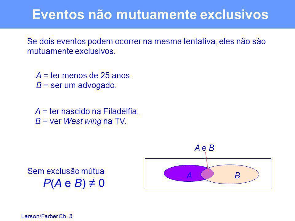 Larson/Farber Ch. 3 Eventos não mutuamente exclusivos Se dois eventos podem ocorrer na mesma tentativa, eles não são mutuamente exclusivos. A = ter me